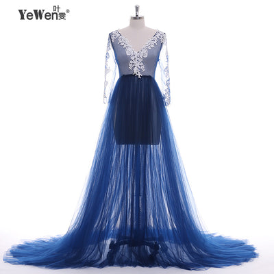 Lace Formal Pregnant Photo dress Long Sleeve See Through deep Blue Evening Dresses Custom color Plus Size 2018 Prom dress