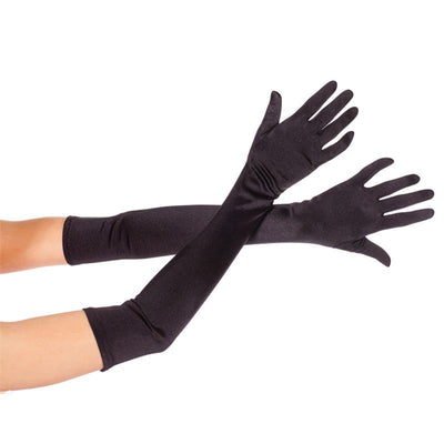 Lady Women Stretch Satin Long Gloves Sun Protection Opera Party Prom CostumeGlove 55cm Black Chenmanfengcai