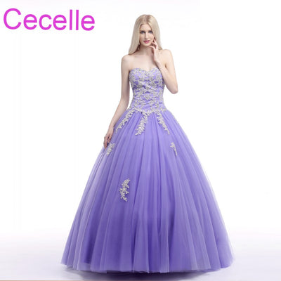 Lavender Ball Gown Prom Dresses 2018 Sweetheart Beaded Lace Tulle Teens Formal Prom Party Gowns Princess Dress Real Photos Sale 1 2
