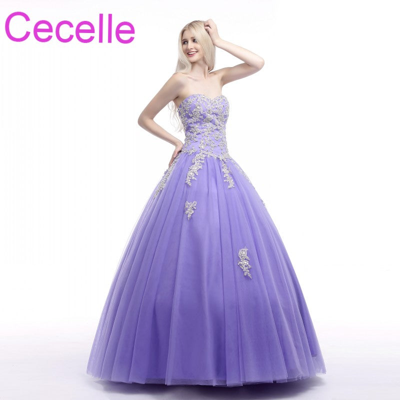 Lavender Ball Gown Prom Dresses 2018 Sweetheart Beaded Lace Tulle
