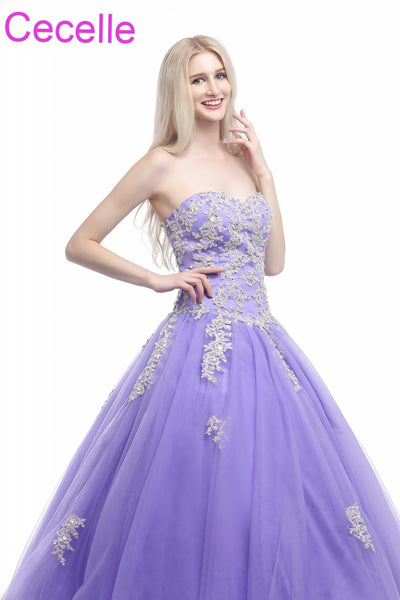 Lavender Ball Gown Prom Dresses 2018 Sweetheart Beaded Lace Tulle Teens Formal Prom Party Gowns Princess Dress Real Photos Sale 1
