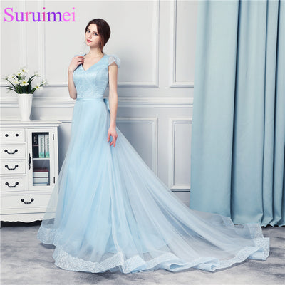 Light Baby Blue Prom Dresses High Quality Tulle Beaded With Lace Applique Hem Line Backless Sexy Evening Gown Bow Knot