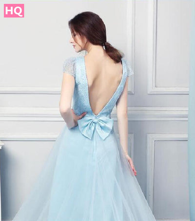 Light Baby Blue Prom Dresses High Quality Tulle Beaded With Lace Applique Hem Line Backless