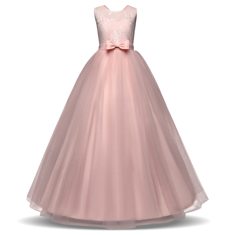 Long Gown Children Lace Princess Girl Dress for Wedding Birthday Party  Teenage Girl Kids Evening Prom 2e66f796cc3d