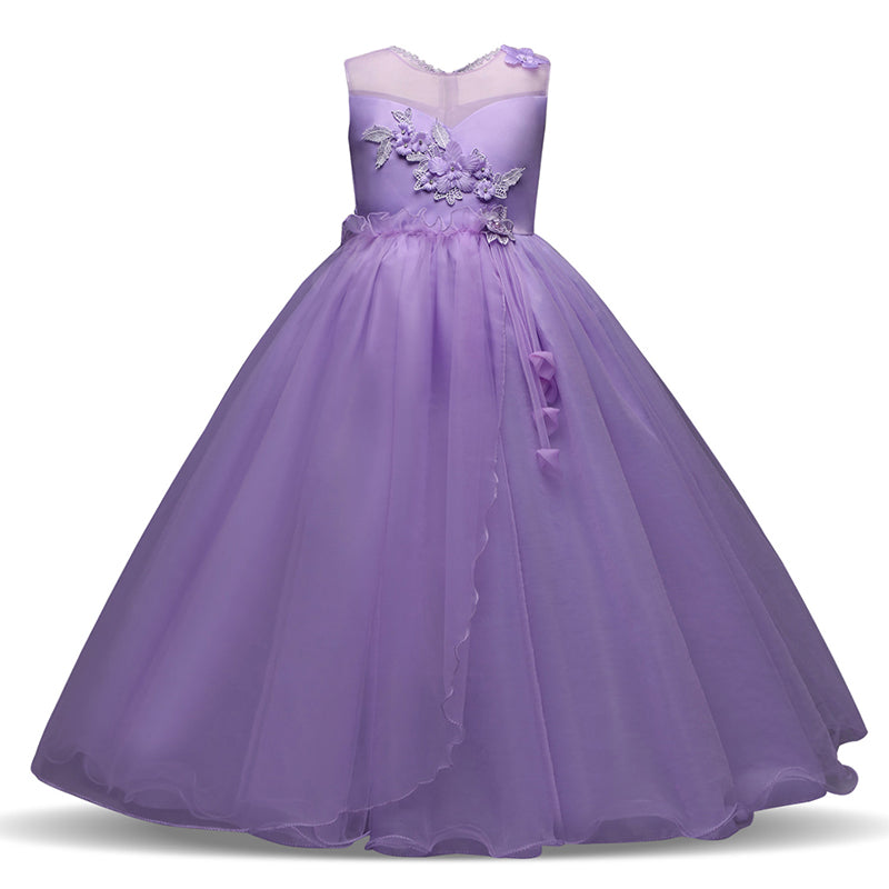 Long Gown Children Lace Princess Girl Dress For Wedding Birthday