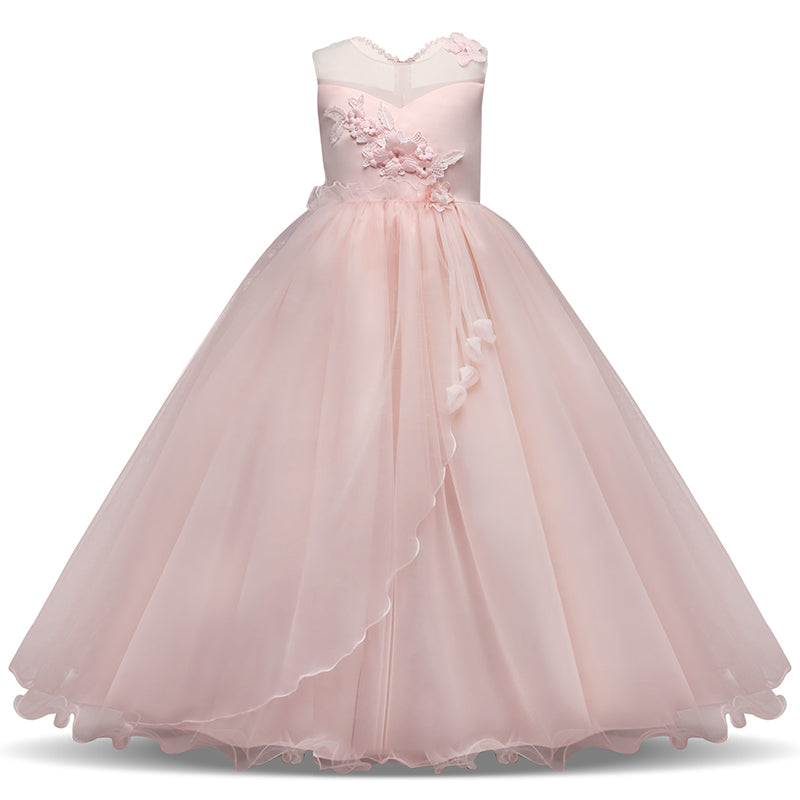 Long Gown Children Lace Princess Girl Dress for Wedding Birthday Party  Teenage Girl Kids Evening Prom f621cf367086