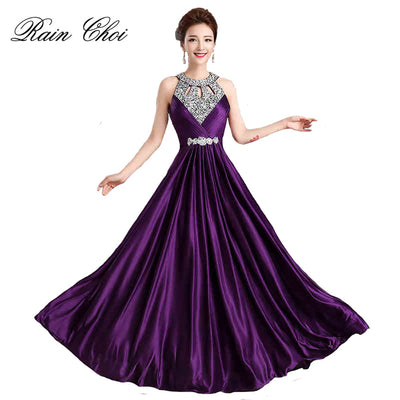 Long Purple Prom Dresses 2018 Sexy Halter Women Elegant Floor-length Formal Wedding Party Bridesmaid Prom Gown 1 2