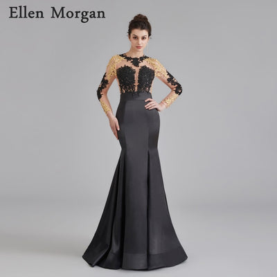 Long Sleeve Backless Prom Dresses for African Black Girls with Lace Appliques Sexy See Through Special Occasion Party Gowns 2018