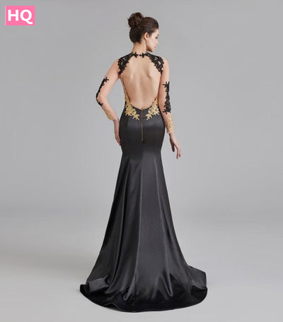 Long Sleeve Backless Prom Dresses for African Black Girls with Lace Appliques