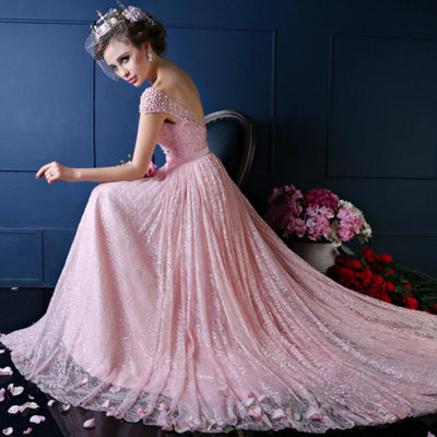 Major Beading Sexy Backless Floor-Length Court Train Mermaid Evening Gown Lace Elegant Pink