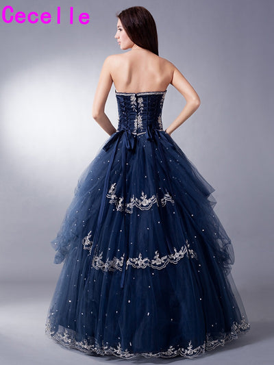 Mid Night Blue Long Vintage Ball Gown Prom Dresses For Seniors With Jacket Tulle Princess Full Length 8th Grade Prom Gowns 2017 1