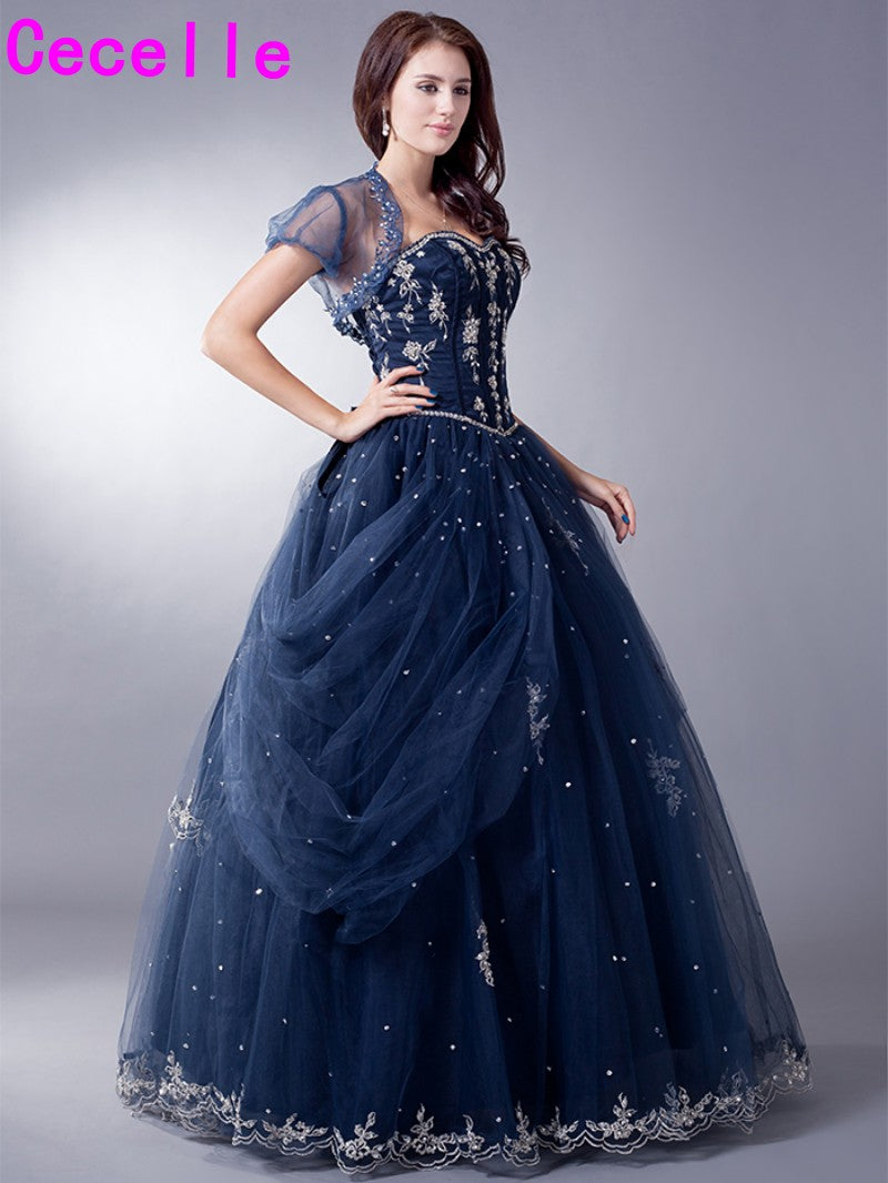 Mid Night Blue Long Vintage Ball Gown Prom Dresses For Seniors With