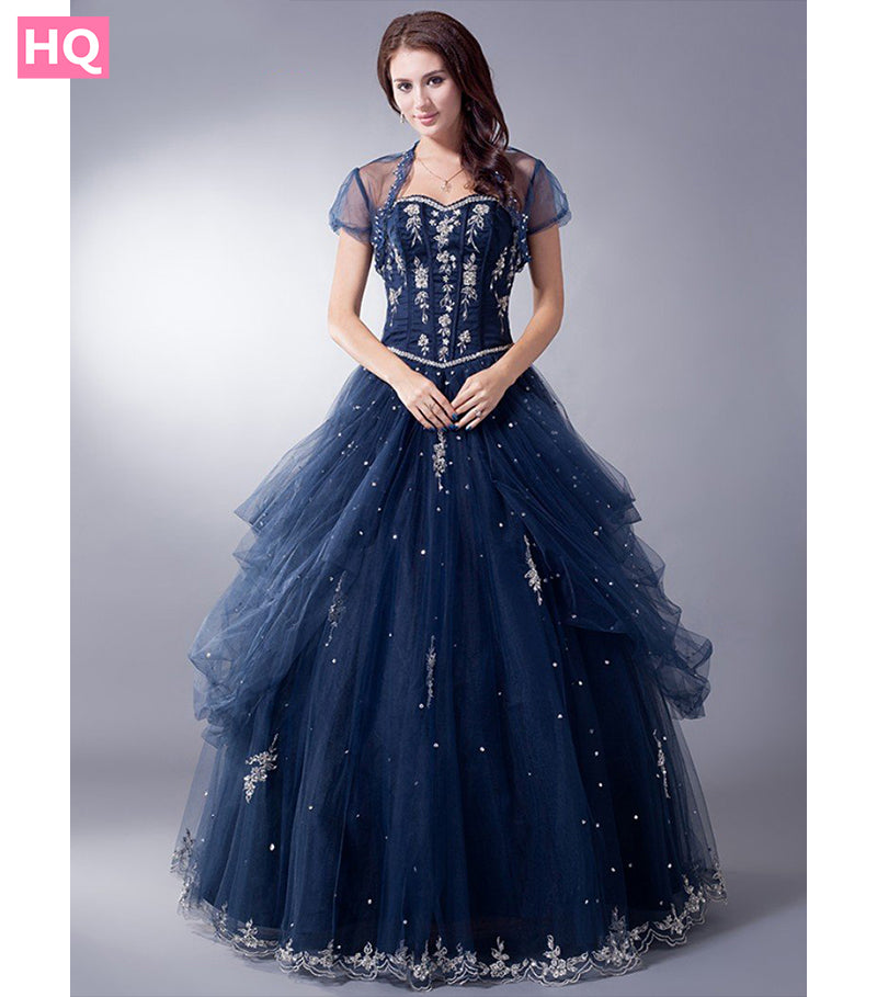 Midnight Blue Long Vintage Ball Gown Prom Dress - HQ Prom Dresses
