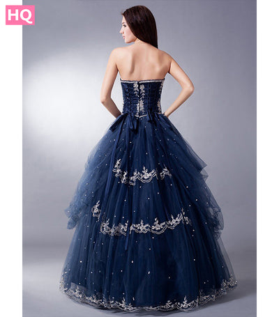 Midnight Blue Long Vintage Ball Gown Prom Dress