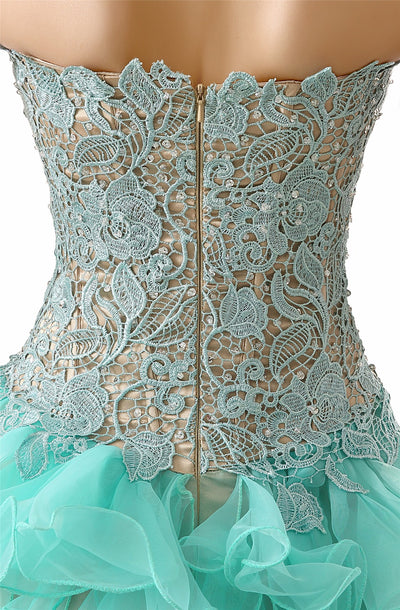 Mint Green High Low Prom Dresses 2017 Robe De Soiree Sweetheart Formal Women Evening Gowns Handmade Party Dress 1 2