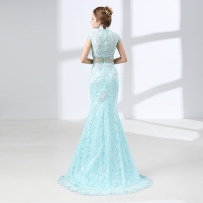 Mint Green Lace Prom Dresses Mermaid 2018 Formal Evening Gowns Long High Neck Vestido Longo Illusion Party Gowns