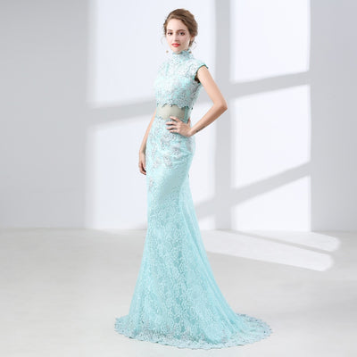 Mint Green Lace Prom Dresses Mermaid 2018 Formal Evening Gowns Long High Neck