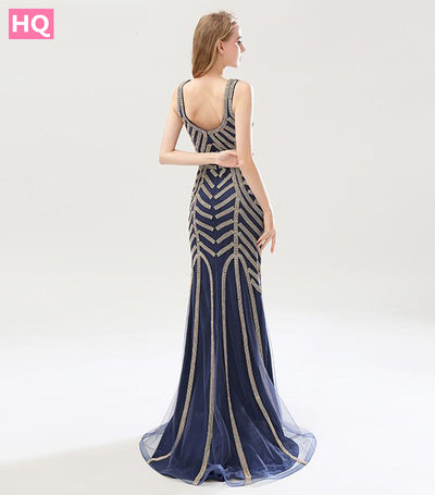 Navy Blue Long Prom Dresses 2018 Stunning Beading Crystals Mermaid
