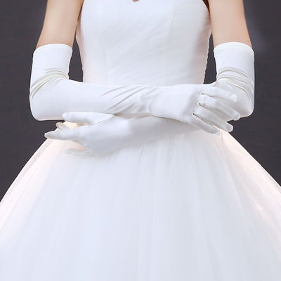 New Satin Long Finger Elbow Sun protection gloves Opera Evening Party Prom Costume Fashion Gloves black red white grey