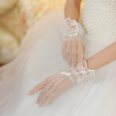 New Sexy Women Evening Party Prom Costume Lace Gloves Solid Color Fashion Hollow out Ladies Glove