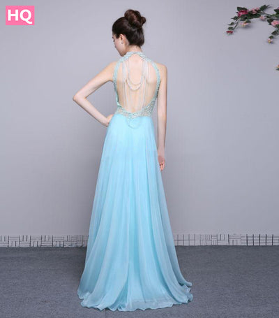 New Real Photos Prom Dresses 2018 Vestido De Festa Beaded Chiffon High Neck Open Back Prom Party Gown A Line Long Evening Dress