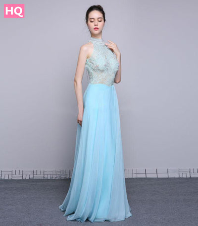 Beaded Chiffon High Neck Open Back Prom Party Gown A Line Long Evening Dress