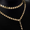Newest fashion jewelry accessories gold color Multiple layers sheet  chain with crystal  Necklace for couple lovers'  N461