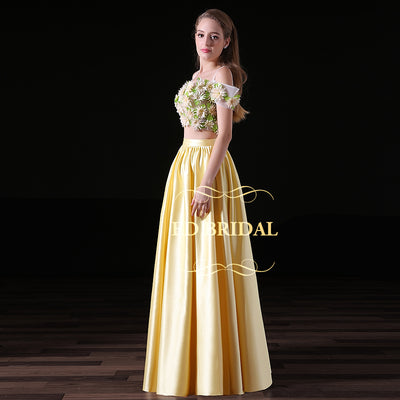 Off the Shoulder Short Sleeves Satin Two Piece Long Prom Dress with 3D Handmade Flowers Evening Dress Formal Gown robe de soiree 1