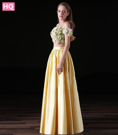 Off the Shoulder Short Sleeves Satin Two Piece Long Prom Dress with 3D Handmade Flowers Evening Dress