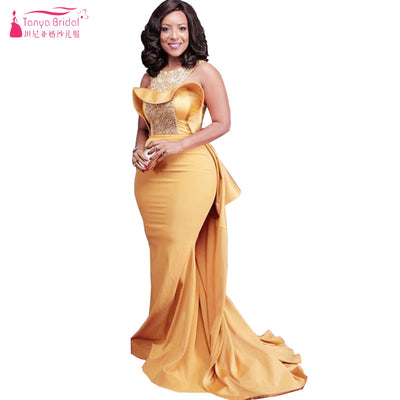 Orange Mermaid O-Neck Evening Dresses Long Elegant African Prom Dresses Luxury Beading Important Party gowns  Z834 1