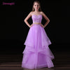 Pink 2018 Prom Dresses A-line Sweetheart Tulle Appliques Beaded Two Pieces Long Women Prom Gown Evening Dresses Robe De Soiree 1 2
