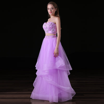 Pink 2018 Prom Dresses A-line Sweetheart Tulle Appliques Beaded Two Pieces Long Women Prom Gown Evening Dresses Robe De Soiree