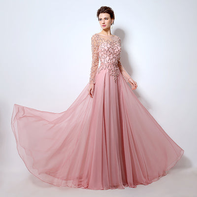 Pink Long Sleeves Prom Dresses 2017 Fashion Sheer Neck Beaded Sequins Evening Gowns