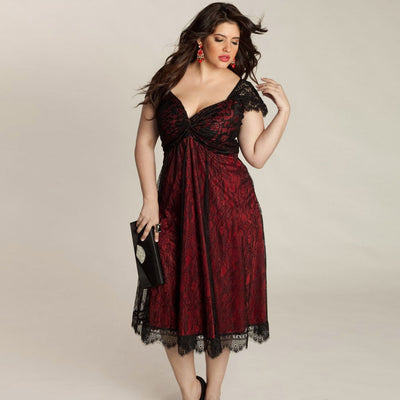 Plus Size Women Sleeveless Lace Long Evening Party Prom Gown Formal Dress Drop shipping