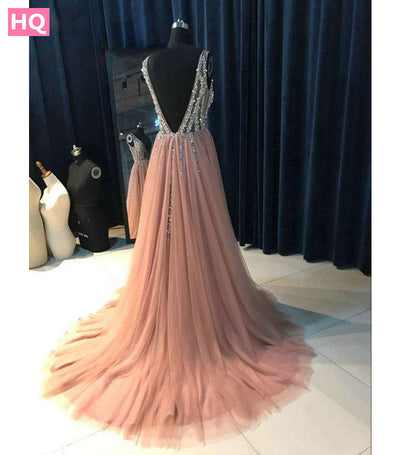 High Side Split Green Prom Dress A-Line Tulle Long Party Dress Beaded Sequined Sexy Open Back