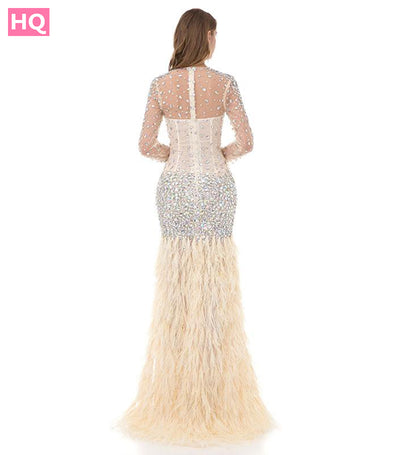 Pretty Women Ivory Mermaid Long Sleeve Prom Dresses