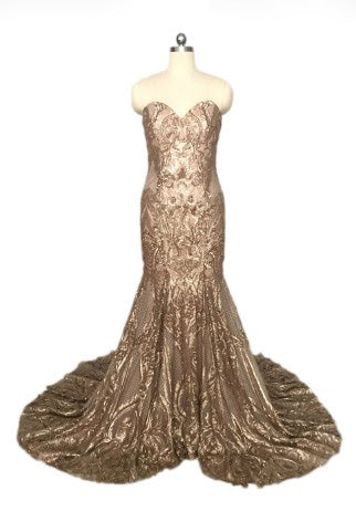 Long Mermaid Sequin Lace Sexy Prom Gown Formal Party Dresses Vintage