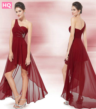 Prom Dresses Ever Pretty EP08100 Unique One Shoulder Rhinestones Red Chiffon