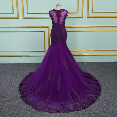 Purple Evening Dresses Long Mermaid 2018 Elegant Sheer Scoop Formal Gown vestido de noiva Long Prom dress Plus Size