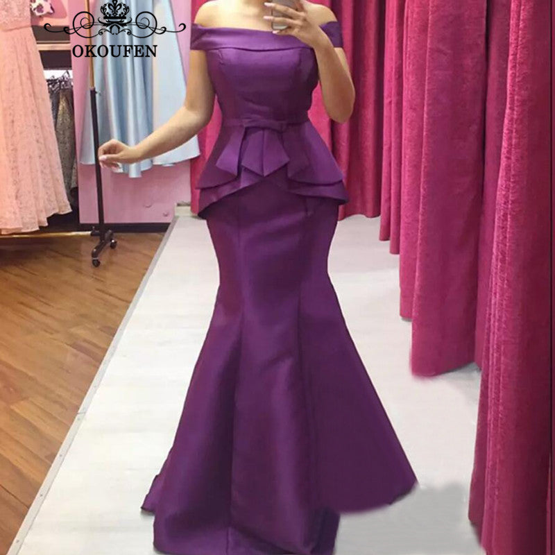 Purple Satin Mermaid Mother Of The Bride Dresses For Women 2018 Elegant Boat Neck Long Prom Dress Evening Formal Gowns 1
