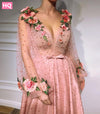 Vintage Pink Prom Dresses Sexy V Neck Pearls 3D Flower Long Sleeve Formal Evening Dress