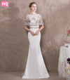 New White Long Mermaid Prom Dresses Sexy Beaded Cape Stretched Satin Sweep Train
