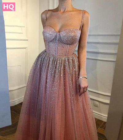 Sexy Long Prom Dresses Dusty Pink Spaghetti Straps Sparking Beading Tulle