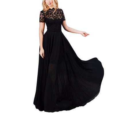 Ropalia Elegant Black Formal Lace Mesh Women Long Dress Ladies Prom