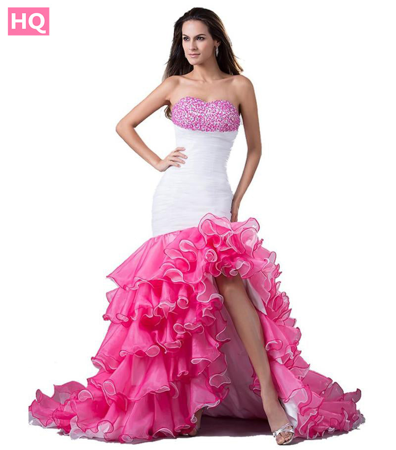 Real New Mermaid High Low Prom Dress