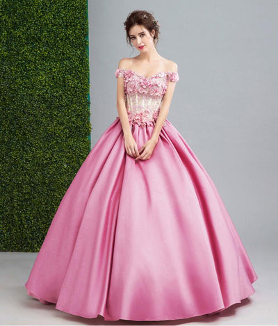 Robe Long Sirene Rose Prom Dresses with Floral Beaded Off the Shoulder Ball Gown Lace Up