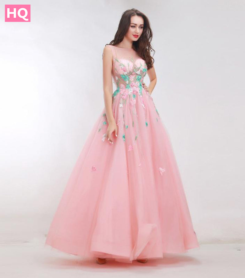Boat Neck Backless A-Line Appliques Tulle - HQ Prom Dresses