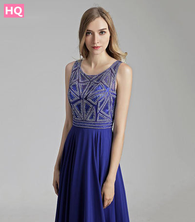 Royal Blue Long Prom Dresses 2018 New Beaded Top Crystals Chiffon Zipper Back