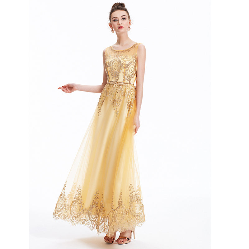 Socci 2016 Tulle Lace Muslim Gold Evening Dress Long Formal Gown