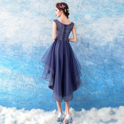 short front long back Women Elegant Beaded Formal Birthday Party Dresses Zipper back